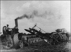 Traction engine ploughing