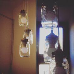 Kitchen chandelier DIY from the jars.  MAKRO, Bormioli Rocco Quattro Stagioni Canning Jar Set 69 CZK for each Ikea, ceiling light 129 CZK  #diy #ceiling #kitchen #jar
