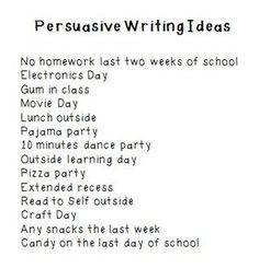 Writing. This simple list of persuasive writing prompts is a great way to get kids to write!