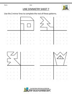 symmetry worksheets line symmetry 7