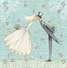 4 x Paper Napkins ~ Wedding Bride & Groom Design ~ Lunch Size ~ decoupage crafts Wedding Illustration, Art Et Illustration, Illustrations, Wedding Art, Wedding Images, Images Victoriennes, Art Carte, Happy Paintings, Wedding Anniversary Cards