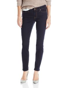 Lucky Brand Women's Sofia Skinny Jean, Placer,29x31. Distress-free dark-wash skinny jean featuring contrast stitching and embellished back pockets. Zip fly with button. Five-pocket styling.