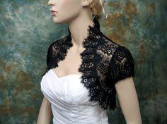 Black lace short sleeve lace bolero jacket lace by alexbridal, $49.99