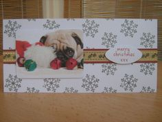Handmade Christmas Card  Cute Pug Dog Card  by KibbsCards on Etsy, £1.49