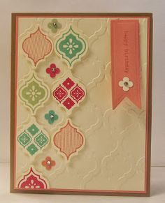 Mosaic Madness- love the coordination of the embossing folder, punches & stamps