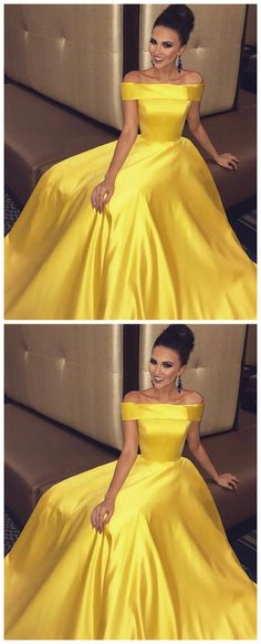2018 Yellow Long Prom Dress,Off The Shoulder A-Line Prom Party Dress,Popular Evening Dress