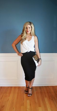 Outfitted411: Classic Pencil...pencil skirt, white top, black ankle strap heels, outfit