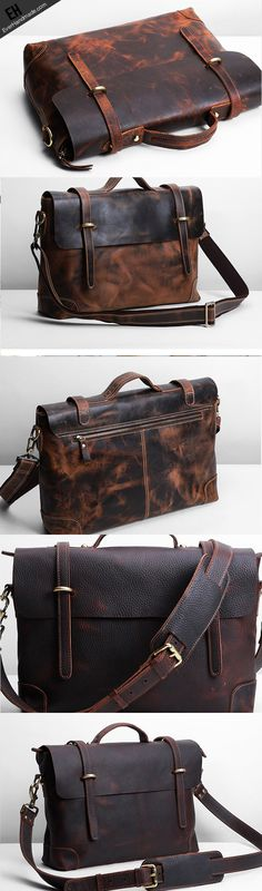 Handmade leather men Briefcase messenger large vintage shoulder