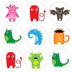 By2 get 1 free monsters 4x6 Digital Collage Sheet PDF 1 Inch Circles for Round Bottle Caps, Magnets, Hair Bow Centers, & More