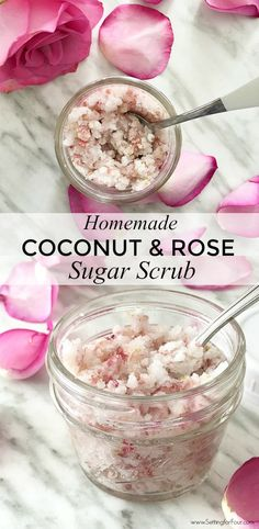 DIY Rose Sugar Scrub Relaxing Reduces Stress Food Meme Quick and EASY Homemade Coconut and Rose Sugar Scrub Recipe Perfect for Valentines Day Galentines Day party favo. Sugar Scrub Homemade, Sugar Scrub Recipe, Homemade Skin Care, Diy Skin Care, Homemade Beauty, Diy Body Scrub, Diy Scrub, Zucker Schrubben Diy, Diy Rose