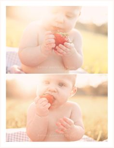 6 month baby eating strawberry- OMG Ames this is a must for you! Toddler Photography, Newborn Photography, Outdoor Baby Photography, 6 Month Pictures, Summer Baby Pictures, Outdoor Baby Pictures, Strawberry Baby, Strawberry Fields, Baby Poses