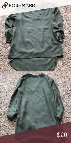 Express army green blouse Express army green flowy blouse Express Tops