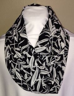Black With White Leaves Infinity Scarf
