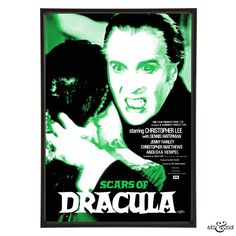 Pop art inspired by the classic Hammer Horror film Scars of Dracula featuring Christopher Lee as the vampire, Dennis Waterman, Jenny Hanley & Anouska Hempel