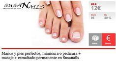 Manos y pies perfectos, manicura o pedicura + masaje + esmaltado permanente en Susanails en Almeria