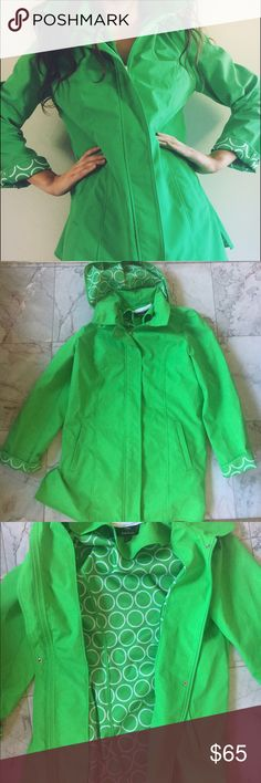 Dennis Basso Rain Jacket Vibrant green rain jacket, never worn before. Has fun patterned lining. Falls above the knees. Has removable hood. Dennis Basso Jackets & Coats Trench Coats