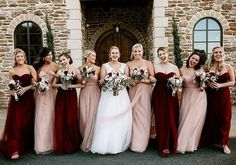 mismatched bridesmaid dresses in blush and burgundy wedding bridesmaids mismatched bridesmaid dresses in blush and burgundy Blush Bridesmaid Dresses Long, Red Bridesmaids, Wine Color Bridesmaid Dress, Wedding Dresses, Cranberry Bridesmaid Dresses, Bridesmaid Dresses Different Colors, Ceremony Dresses, Bridesmaid Outfit, Wedding Ceremony