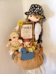 SALE LG Handmade FAMILY Girl & Baby Doll Gift Basket Decoration by cappelloscreations, $60.00 @Etsy