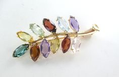 18KT SOLID YELLOW GOLD PIN BROOCH FLOWER MULTI COLOR PRECIOUS STONES 5.5 GRAMS
