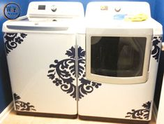 Washer Dryer Vinyl Decals, Appliance Decals, Large Damask Vinyl Decal for Washer, Top Loading Washer Decals, Laundry Decals