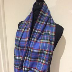 Unisex Blue Plaid Flannel Infinity Scarf blanket by SissyandTodo