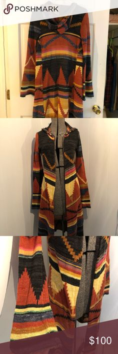 RARE Free People Boho Aztec Long Hooded Sweater Brand: Free People Color: Multi Condition: NWOT but is a fragile piece Size: Small Free People Sweaters Shrugs & Ponchos