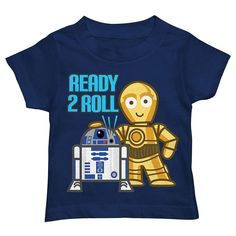"""Toddler Boy Star Wars R2D2 & C3PO """"Ready 2 Roll"""" Graphic Tee, Size: 4T, Blue (Navy)"""