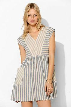 BDG Stripe-Mix Woven Babydoll Dress - Urban Outfitters
