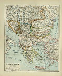 1894 Antique map of BALKAN PENINSULA, BALKANS, Albania, Bosnia, Croatia, Serbia, Bulgaria, Macedonia, Greece, Romania, Slovenia.. $15.95, via Etsy.
