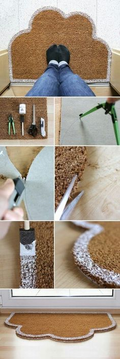 DIY & Tutorial Board: door mat tutorial - make it in the shape of a castle! Home Crafts, Diy Home Decor, Diy And Crafts, Diy Projects To Try, Craft Projects, Deco Originale, Idee Diy, Diy Tutorial, Diy Furniture