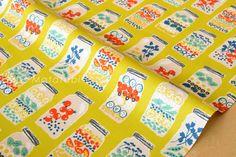 Japanese Fabric Jar Salads  B  fat quarter by MissMatatabi on Etsy