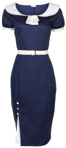 00a6809b5d NEW LINDY BOP CLASSY BLUE VINTAGE 1950 s PINUP PENCIL WIGGLE EVENING PARTY  DRESS  Amazon.