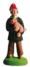 Man with a Pig Santon – Homme au cochon.  Size #2, Elite (the 2-3/4 inch - 7 cm size). From Marcel Carbonel, Premiere Santon Makers, Marseille, France.  Available at www.mygrowingtraditions.com