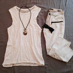 crocheted muscle tee Worn few times. Good Condition. Signs of normal wear/wash. Size M, TTS. Staring at Stars brand from Urban Outfitters. [ necklace and sunnies are Not for Sale ]  No Hold. No Trade. Price is Firm. Urban Outfitters Tops Muscle Tees
