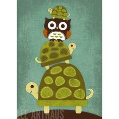 Retro Three Turtles and Owl Lee Arthaus