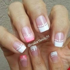 107 Designs of Elegant French Nails Decorated Easy to Learn How to Make French Manicure Step by Step French Manicure Nails, Manicure E Pedicure, French Tip Nails, Gel Nails, Acrylic Nails, Fancy Nails, Cute Nails, Pretty Nails, French Nail Designs