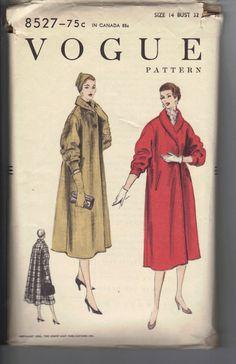 Vintage 1950's Women's Coat Pattern Vogue by AtomicRegeneration, $10.51