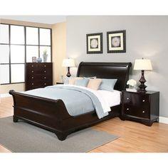 Abbyson Kingston 4 Piece Espresso Sleigh Queen Size Bedroom Set