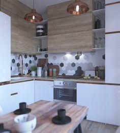 W aranżacji kuchni ciekawie prezentuje się pas ściany nad blatem. W pozornie przypadkowy sposób rozmieszczono tutaj...