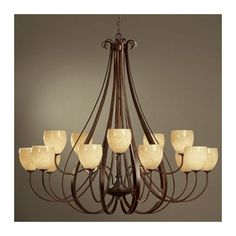 Hubbardton Forge 15 Light Shaded Chandelier Finish: Brushed Steel, Shade Color: Opal