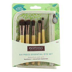 ลดราคา Ecotools Six Piece Essential Eye Set ชุดแปรงแต่งตาพร้อมกระเป๋าสำหรับพกพา ขนแปรงสังเคราะห์นุ่มละมุนพร้อมด้ามจับไม้ไผ่คุณภาพดี