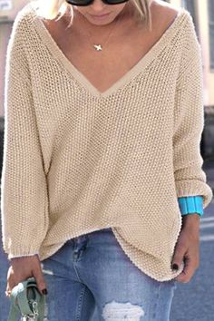 Cheap sueter mujer, Buy Quality sweater top directly from China knitted sweater Suppliers: Womens Cute Elegant V Neck Loose Casual Knit Sweater Pullover Long Sleeve Spring Sweater Tops sueter mujer Hot Selling Knitting Pullover, Knitted Poncho, Pullover Sweaters, Sweaters Knitted, Poncho Sweater, Women's Sweaters, Rosa Pullover, Oversize Pullover, Oversized Tops