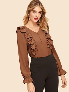 Casual Plain Top Regular Fit V neck Long Sleeve Flounce Sleeve Pullovers Red Regular Length Frill Trim Covered Button Top Hijab Fashion, Fashion News, Fashion Dresses, Blouse Styles, Blouse Designs, Plain Tops, Spring Shirts, Mode Hijab, Blouses For Women