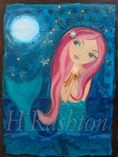 Mermaid Art Children's Art Children Decor Mixed Media by hrushton, $18.00