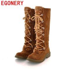 $43.00 (Buy here: https://alitems.com/g/1e8d114494ebda23ff8b16525dc3e8/?i=5&ulp=https%3A%2F%2Fwww.aliexpress.com%2Fitem%2Ffashion-women-s-snow-boots-lace-up-knee-high-boots-2016-lady-autumn-winter-fur-flat%2F32484261487.html ) EGONERY women's snow boots lace up knee high boots 2016 lady autumn winter fur flat shoes woman platform black brown high boots for just $43.00