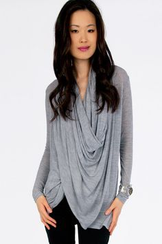 Perfect draped sweater for pre- or post-workout or just a lazy day around town!