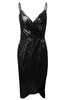 Black Spaghetti Strap Sequined Wrap Dress | USTrendy