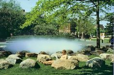 the Tanner Fountain on Harvard University campus.  The first basin less fountain designed by Peter Walker