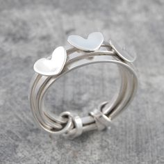 Triple Heart Multi Wire Band Silver Ring
