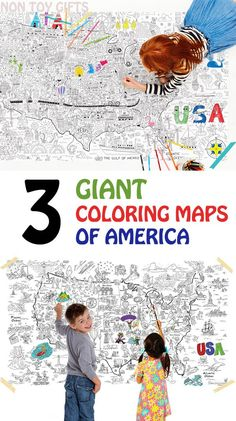 3 coloring maps of America. Fun and educational activity for kids, that introduces art and geography and encourages collaboration. Great classroom or homeschool activity. Better than a color page- at Non Toy Gifts